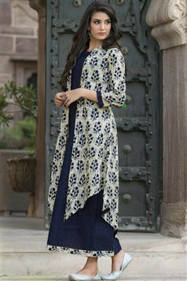 17b05ac5d68 Cotton Casual Wear Printed Long Straight Style Kurtis Collection ...