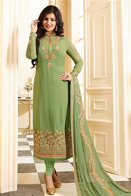 Cute Exclusive Pure Georgette Embroidered Work Semi Stitched Salwar Kameez In Fiji
