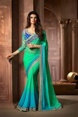 Gorgeous Georgette Embroidered Work Un Stitched Sarees In Belgium