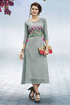 Party Wear Girls Embroidered Long Kurtis Collection Online Purchase For  Reselling