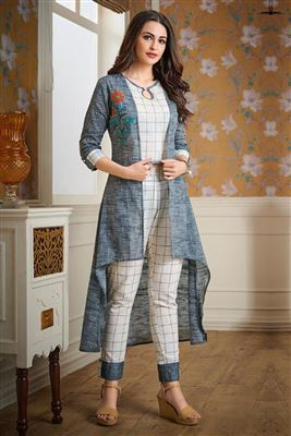 bb01dccbe14 Readymade Ladies Kurtis With Pants Catalog Online Wholesale Supplier Full  Stitched Cotton Embroidery Kurti Sets Manufacturer