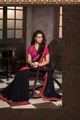 Soothing Georgette Embroidered Work Un Stitched Sarees In Algeria