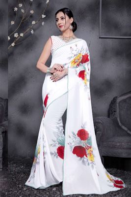 Wholesale Price White Color Sarees Based Flower Print